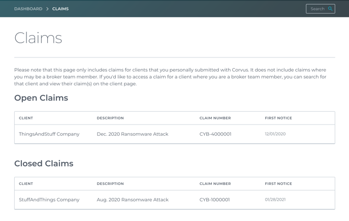 Aggregate Claims Page screenshots for marketing